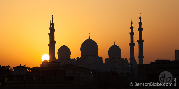 The Grand Mosque at sunset in Abu Dhabi, UAE