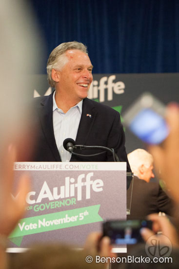 McAuliffe speaking at rally in Dale City, VA