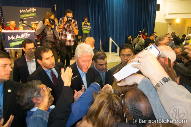 Bill Clinton working the rope line at McAuliffe rally in Dale City, VA