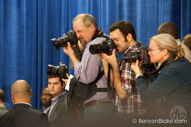 Photographers following Bill Clinton at McAuliffe rally in Dale City, VA