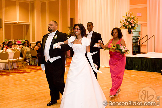 Debutante with her parents and escort