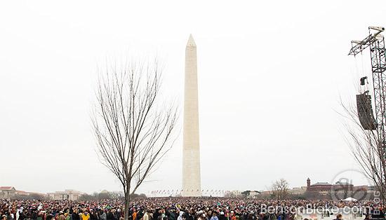 Crowd gathering around the Washington Monument