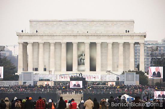 Martin Luther King III speaking at the Lincoln Memorial
