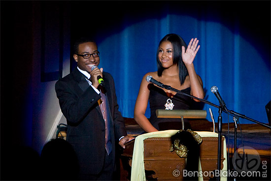 Emcees keep the crown entertained at the 2009 Miss HU Pageant